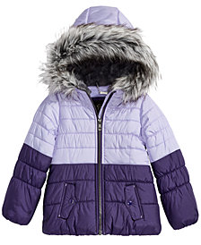Jessica Simpson Toddler Girls Hooded Colorblocked Puffer Jacket with Faux-Fur Trim