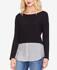 Vince Camuto Mixed Media Striped Top