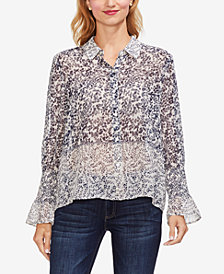 Vince Camuto Tranquil Petals Button-Up Blouse