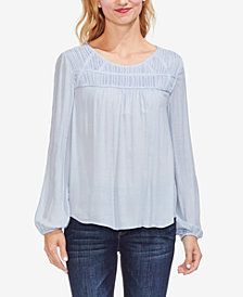 Vince Camuto Smocked Twill Blouse
