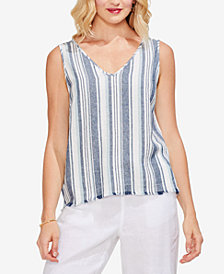 Vince Camuto Beach Striped Linen V-Neck Top