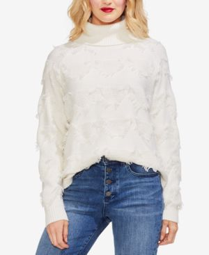 VINCE CAMUTO Geometric Fringe Turtleneck Sweater in Antique White