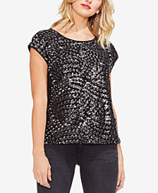 Vince Camuto Sequined-Front Top