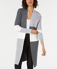 Vince Camuto Colorblocked Open-Front Cardigan