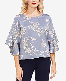 Vince Camuto Ruffled Printed Satin Top