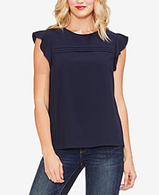 Vince Camuto Flutter-Sleeve Pintucked Top