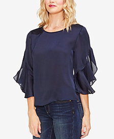 Vince Camuto Ruffled Elbow-Sleeve Satin Top