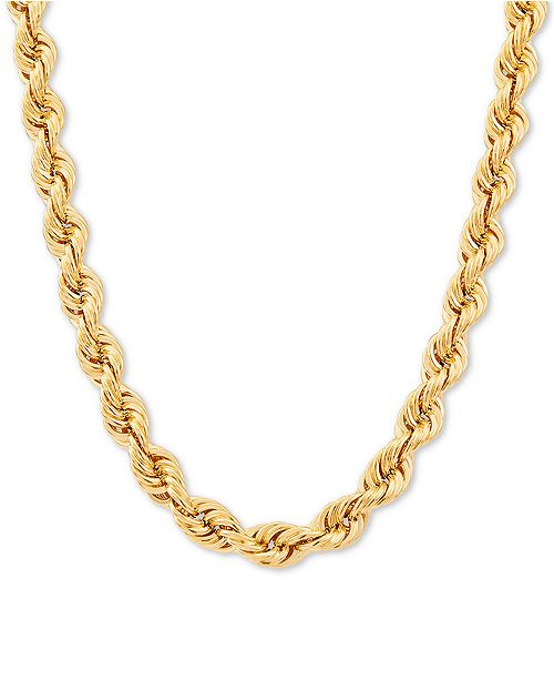 """Italian Gold Tube Rope 24"""" Chain Necklace in 10k Gold"""