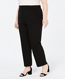 Monteau Trendy Plus Size Cropped Wide-Leg Pants