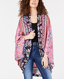 STELLA + GINGER Cotton Printed Kimono Cape
