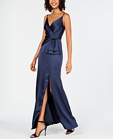 Adrianna Papell Satin Faux-Wrap Gown
