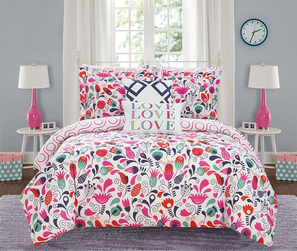 Chic Home Tulip Garden 9 Piece Full Bed In a Bag Comforter Set