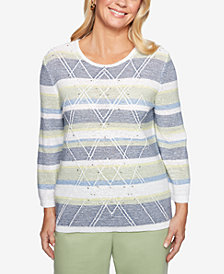 Alfred Dunner Greenwich Hills Embroidered-Stripe Rhinestone Sweater