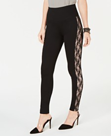 I.N.C. Shaping Lace-Stripe Leggings, Created for Macy's
