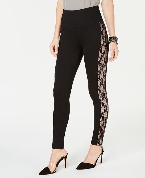 INC International Concepts INC Shaping Lace-Stripe Leggings, Created for Macy's