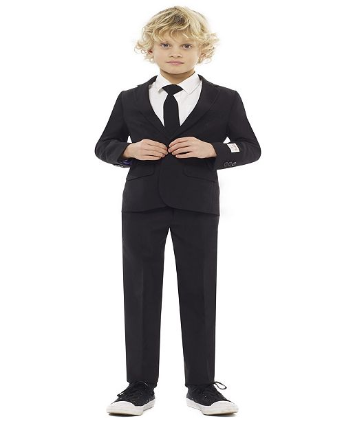 OppoSuits Boys Black Knight Solid Suit
