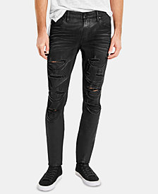 GUESS Men's Black Moto Skinny Jeans