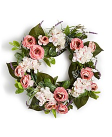 Spring Lavender & Pink Roses Artificial Wreath, Created for Macy's