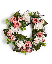 Martha Stewart Collection Spring Lavender & Pink Roses Artificial Wreath, Created for Macy's