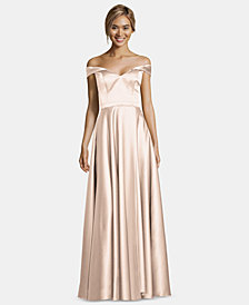 XSCAPE Off-The-Shoulder Satin Gown