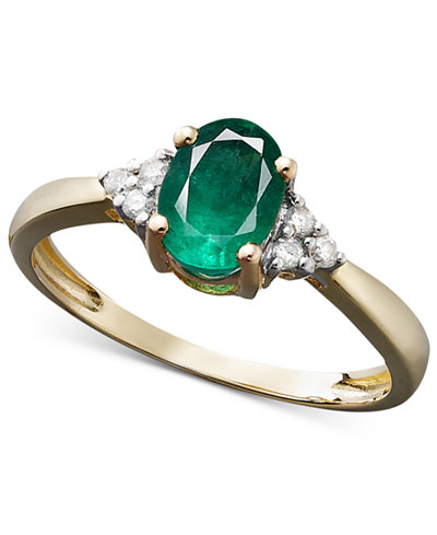 Emerald (3/4 ct. t.w.) and Diamond Accent Oval Ring in 14k Gold