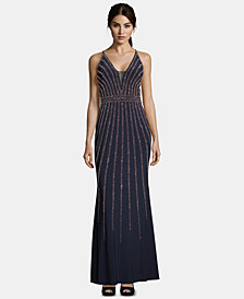 Xscape Beaded V-Neck Gown