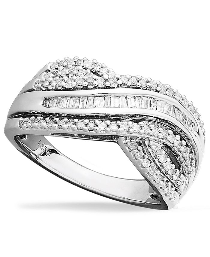 Macy's - Diamond Bypass Ring in Sterling Silver (1/2 ct. t.w.)