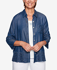 Alfred Dunner Petite Greenwich Hills Chambray Layered Look Top
