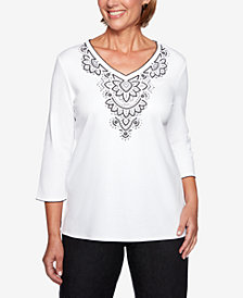 Alfred Dunner Petite Grand Boulevard Embroidered V-Neck Top