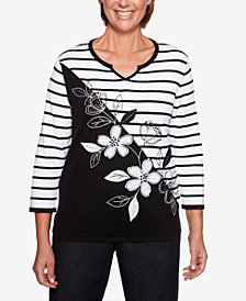 Alfred Dunner Petite Grand Boulevard Spliced-Stripe Top