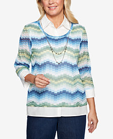 Alfred Dunner Petite Greenwich Hills Collared Layered Look Sweater