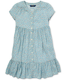 Polo Ralph Lauren Big Girls Shirred Floral-Print Dress