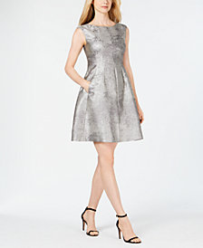 Anne Klein Metallic Fit & Flare Dress