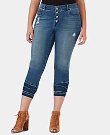 Jessica Simpson Juniors' Plus Size Kiss Me Button-Fly Super Skinny Jeans