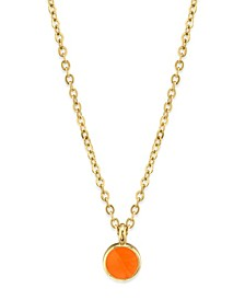 """14K Gold Dipped Small Round Enamel Necklace 16"""""""