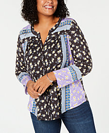 Style & Co Plus Size Mixed Floral-Print Top, Created for Macy's