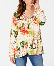 Style & Co Printed Ruffled-Hem Blouse, Created for Macy's