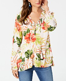 Style & Co Petite Printed Ruffled-Hem Blouse, Created for Macy's