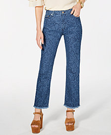MICHAEL Michael Kors Printed Raw-Hem Jeans, In Regular & Petite Sizes
