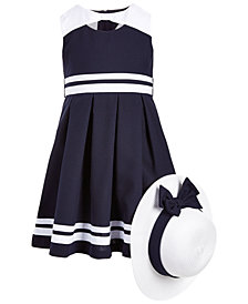 Bonnie Jean Toddler Girls 2-Pc. Nautical Dress & Hat Set