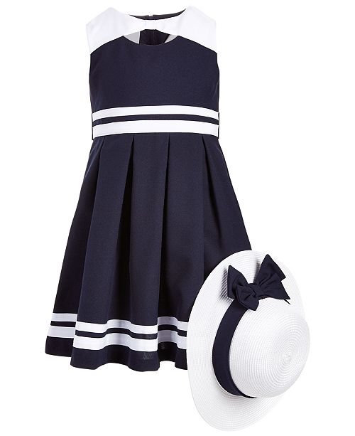 1af266deb Bonnie Jean Toddler Girls 2-Pc. Nautical Dress   Hat Set   Reviews ...