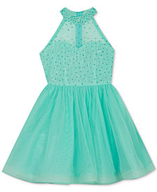 Rare Editions Big Girls Embellished Illusion Halter Dress