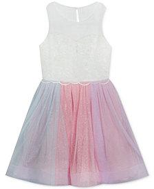 Rare Editions Big Girls Rainbow-Mesh Illusion Dress
