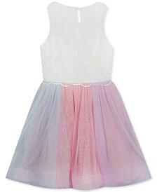 Rare Editions Big Girls Rainbow-Mesh Illusion Dress