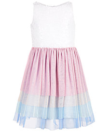 Us Angels Big Girls Sequin Rainbow Mesh Dress