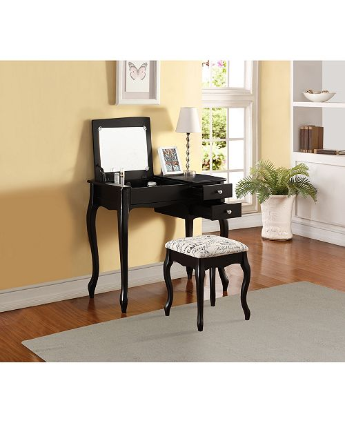 Linon Home Décor Evie Vanity Set With Bench And Mirror