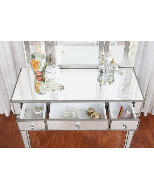 Linon Home Décor Adeline Vanity Set With Bench And Mirror