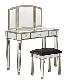 Tessa Vanity Set with Bench and Mirror