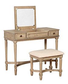 Cyndi Gray Wash Vanity Set with Bench and Mirror
