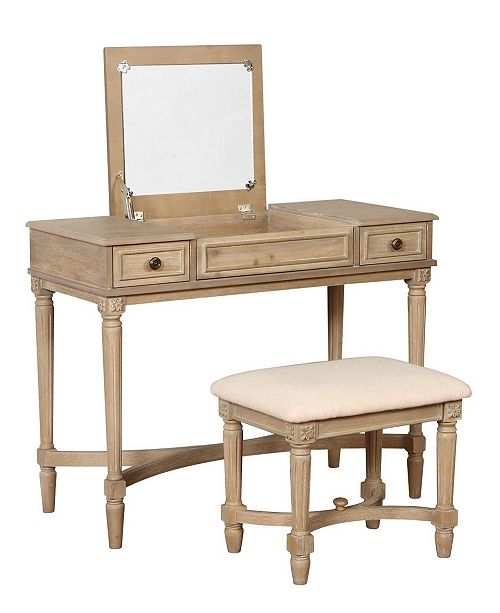 Linon Jackson Vanity Set With Mirror Reviews: Linon Home Décor Cyndi Gray Wash Vanity Set With Bench And